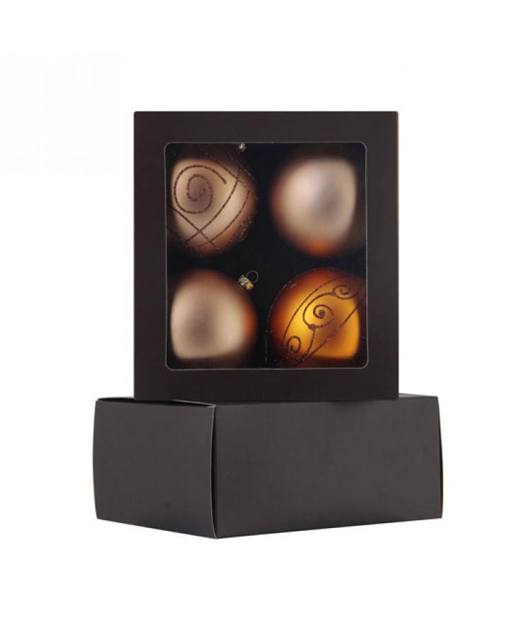 Sélect boules de noël 8cm dorée-1195