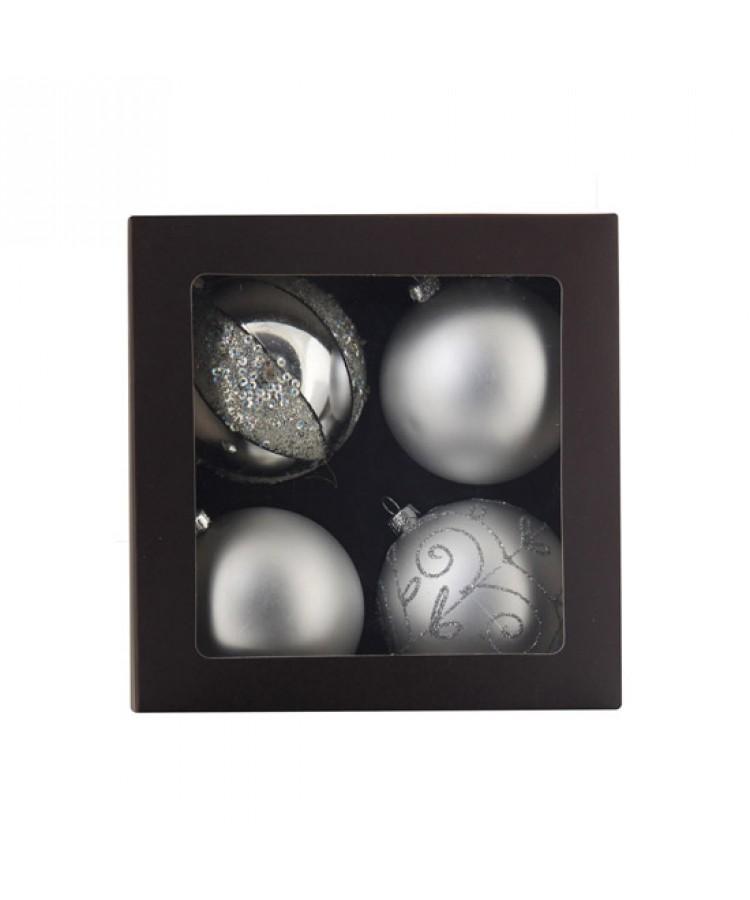 Sélect boules de noël 7cm Argent brilliant-1122