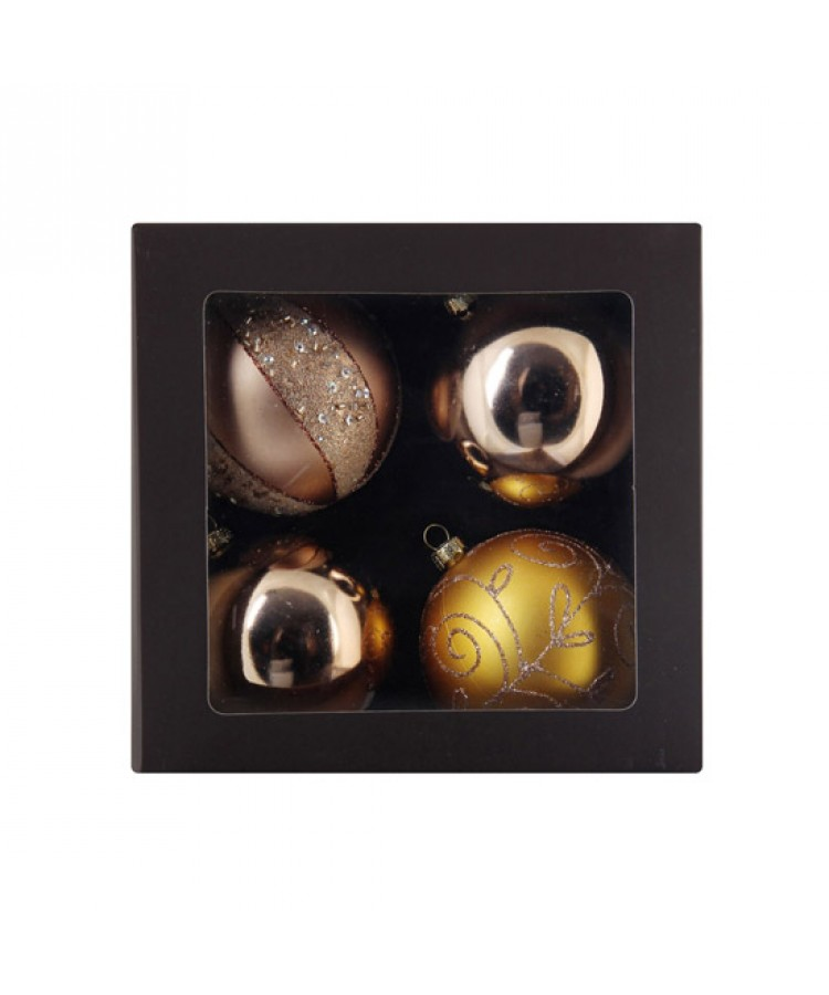 Sélect boules de noël 7cm dorée-1145