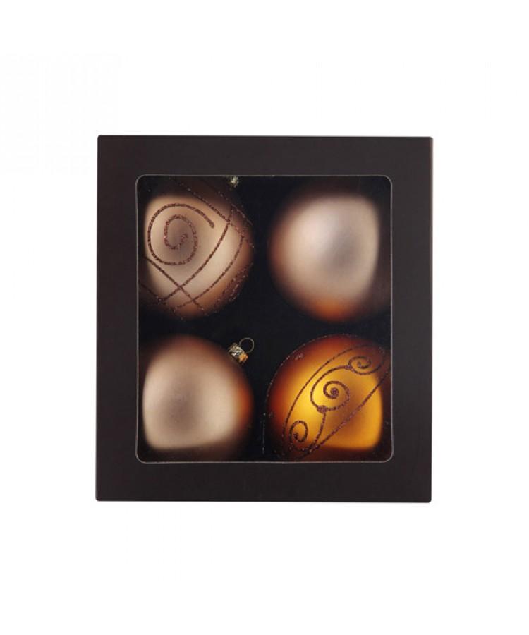 Sélect boules de noël 8cm dorée-1198