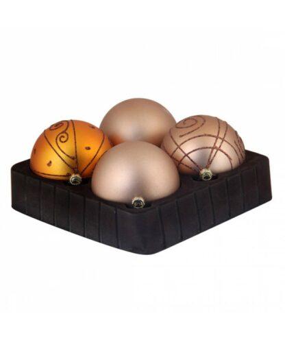 Sélect boules de noël 8cm dorée-0