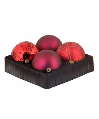 Sélect boules de noël 8cm Rouge Bordeaux-0