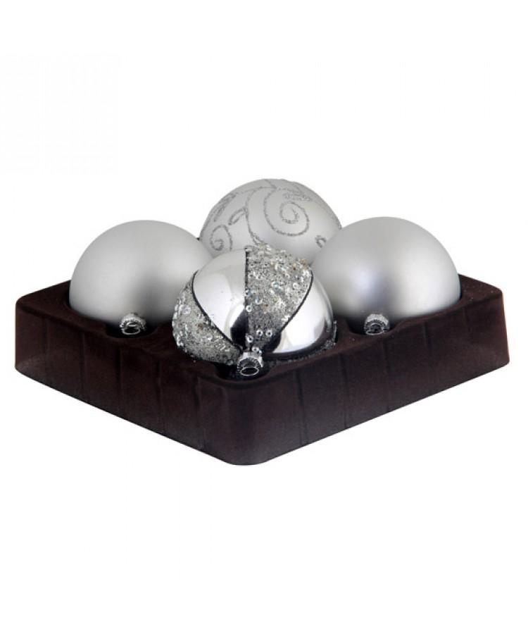 Sélect boules de noël 7cm Argent brilliant-0
