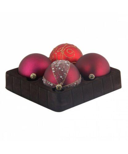 Sélect boules de noël 7cm Rouge Bordeaux-0